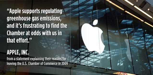 Apple supports regulating greenhouse gases, and it's frustrating to find the Chamber at odds with us in that effort - Apple Inc.