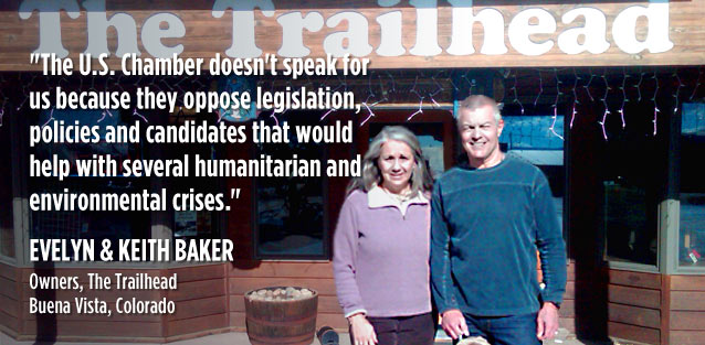 Evelyn and Keith Baker, owners of The Trailhead and Trailhead Cycle & Ski in Buena Vista, Colorado, pause in front of their shop with their Weimaraner, Prana, on 24 February 2011.